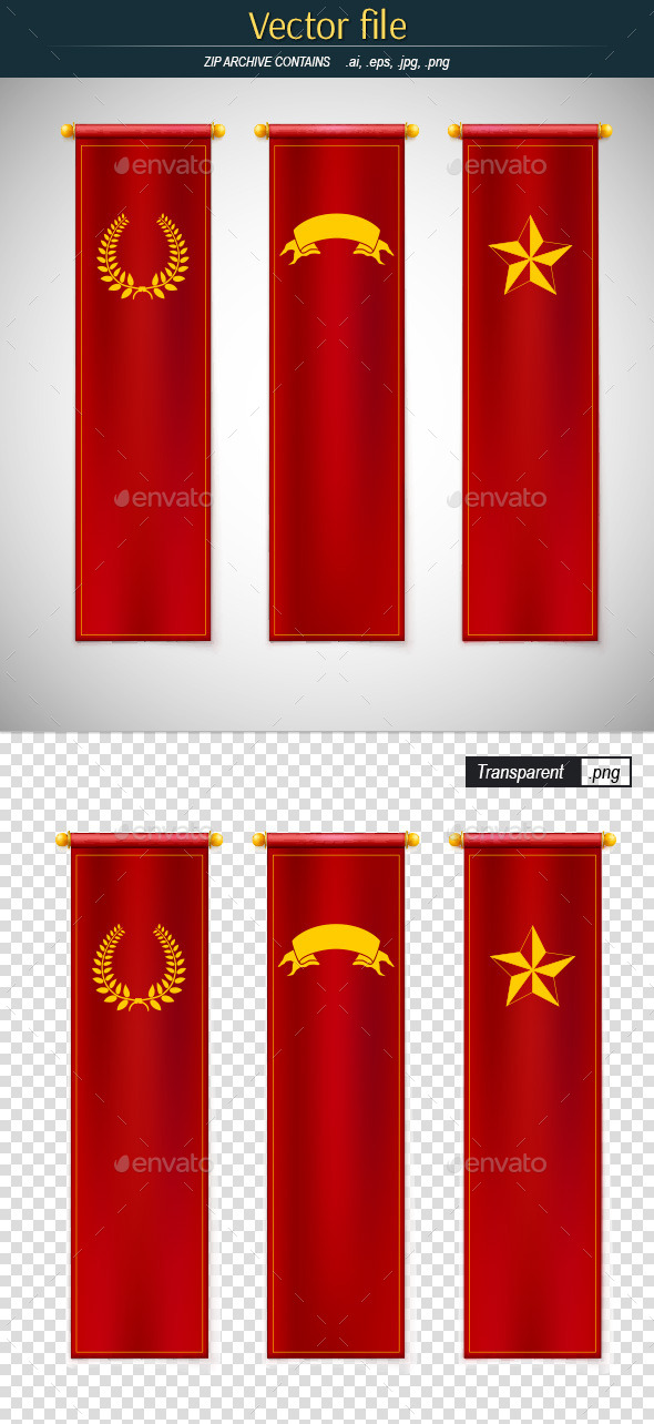 GraphicRiver Red Vertical Flags with Emblems 10461475