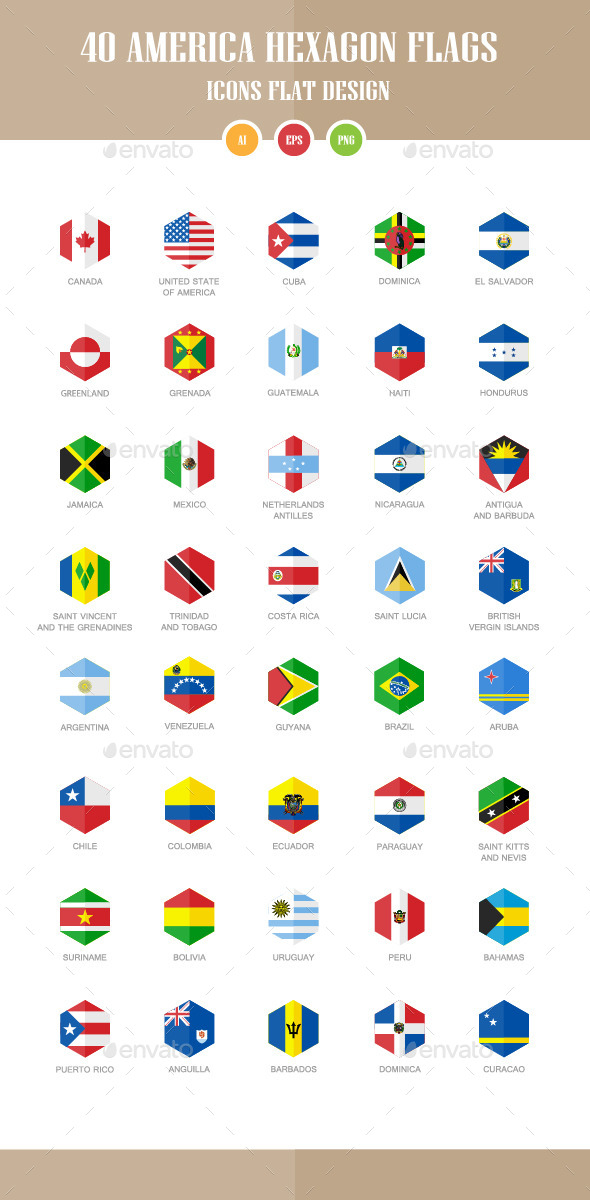 GraphicRiver 40 America Flag Icons Hexagon Flat Design 10462146