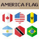 40 America Flag Icons. Hexagon Flat Design