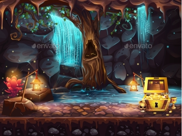 GraphicRiver Fantasy Cave with a Waterfall 10462173