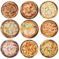 Nine different pizzas in one set, isolated on white, top view - PhotoDune Item for Sale