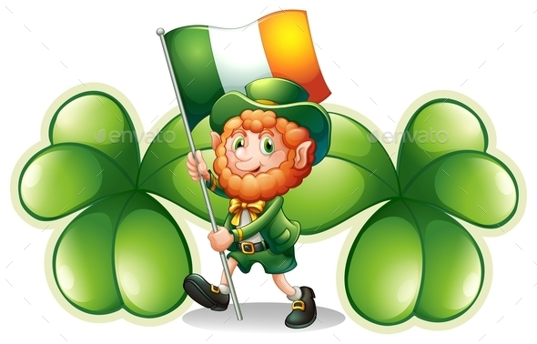 Man with a Flag and Clovers
