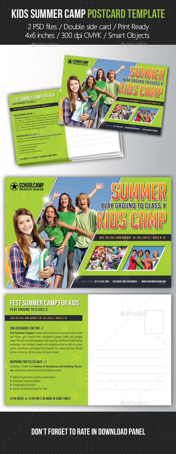 GraphicRiver Kids Summer Camp Postcard Template 10462764