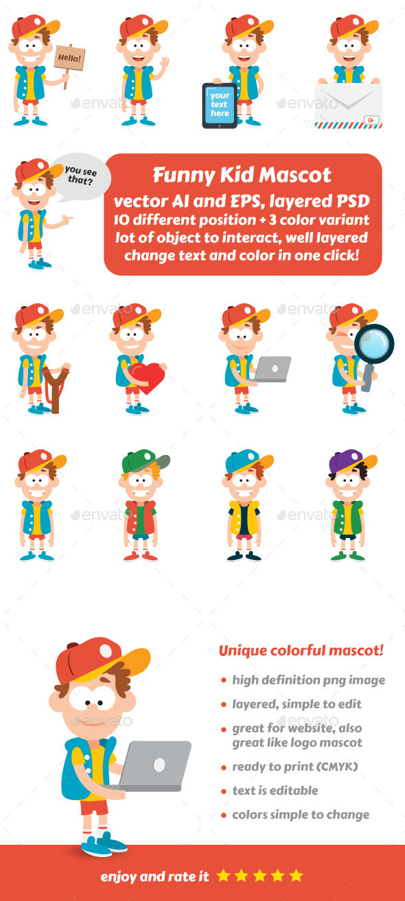 GraphicRiver Funny Kid Mascot 10462844
