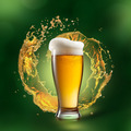 Beer in glass with splash on green background - PhotoDune Item for Sale