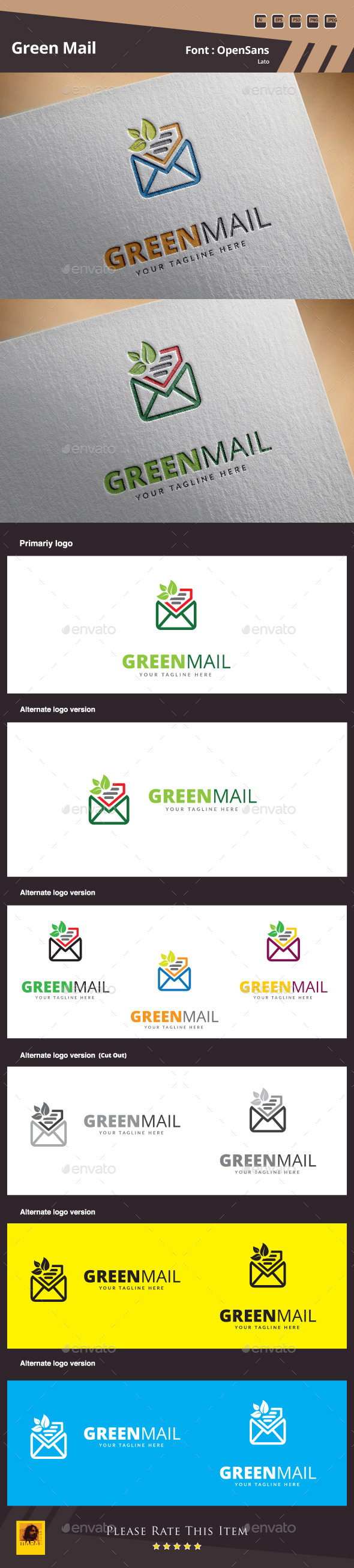 GraphicRiver Green Mail Logo Template 10463274