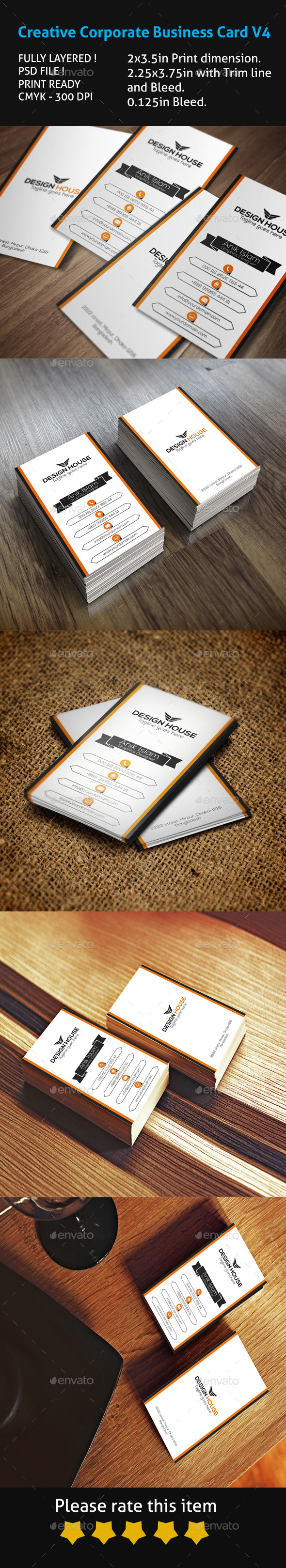GraphicRiver Creative Corporate Business Card V4 10463275
