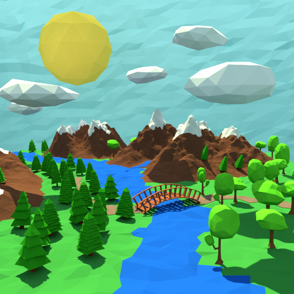 3DOcean Low Poly landscape 10465827