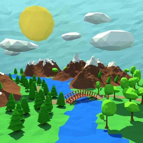 Low Poly landscape - 3DOcean Item for Sale
