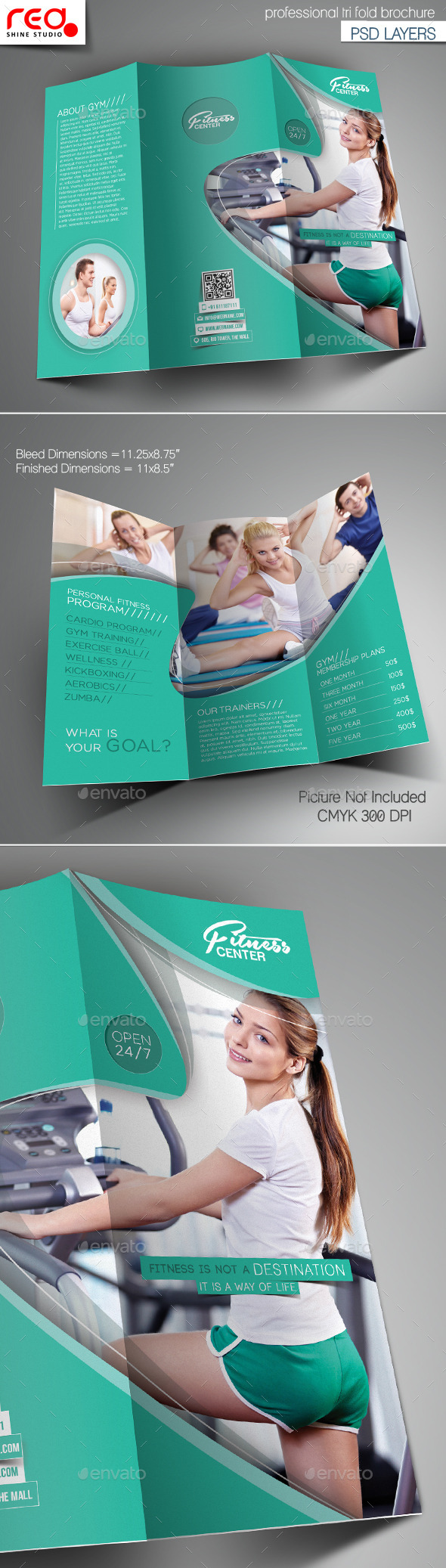 GraphicRiver Fitness Club Trifold Brochure Template 10466128