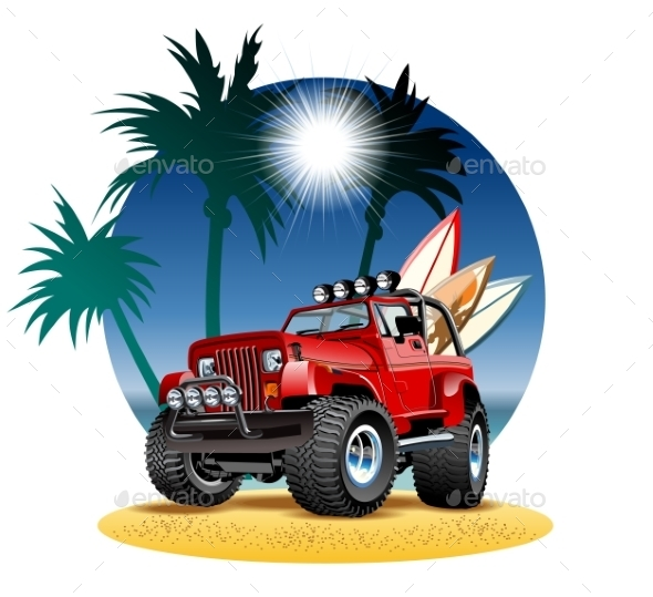 GraphicRiver Cartoon 4x4 Car on Beach 10467728