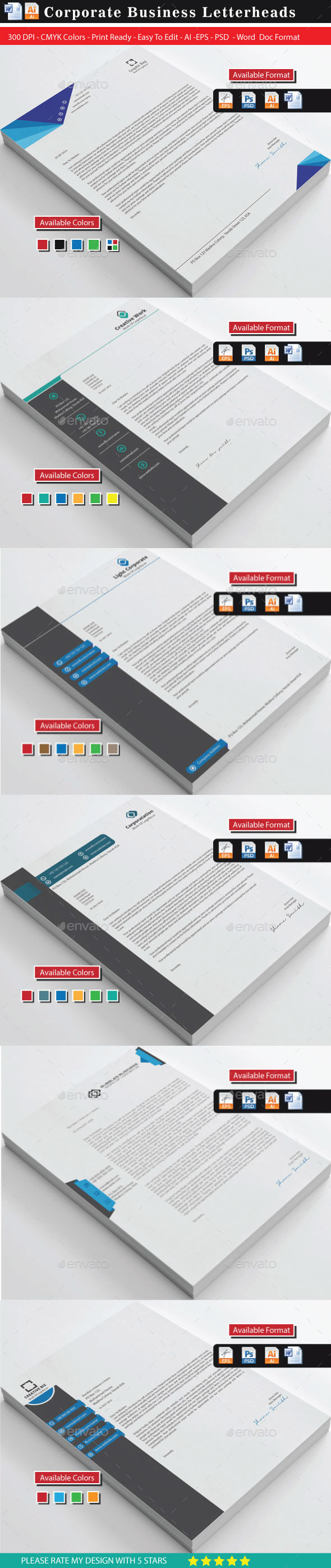 GraphicRiver Modern & Creative Letterheads Bundle 10468034