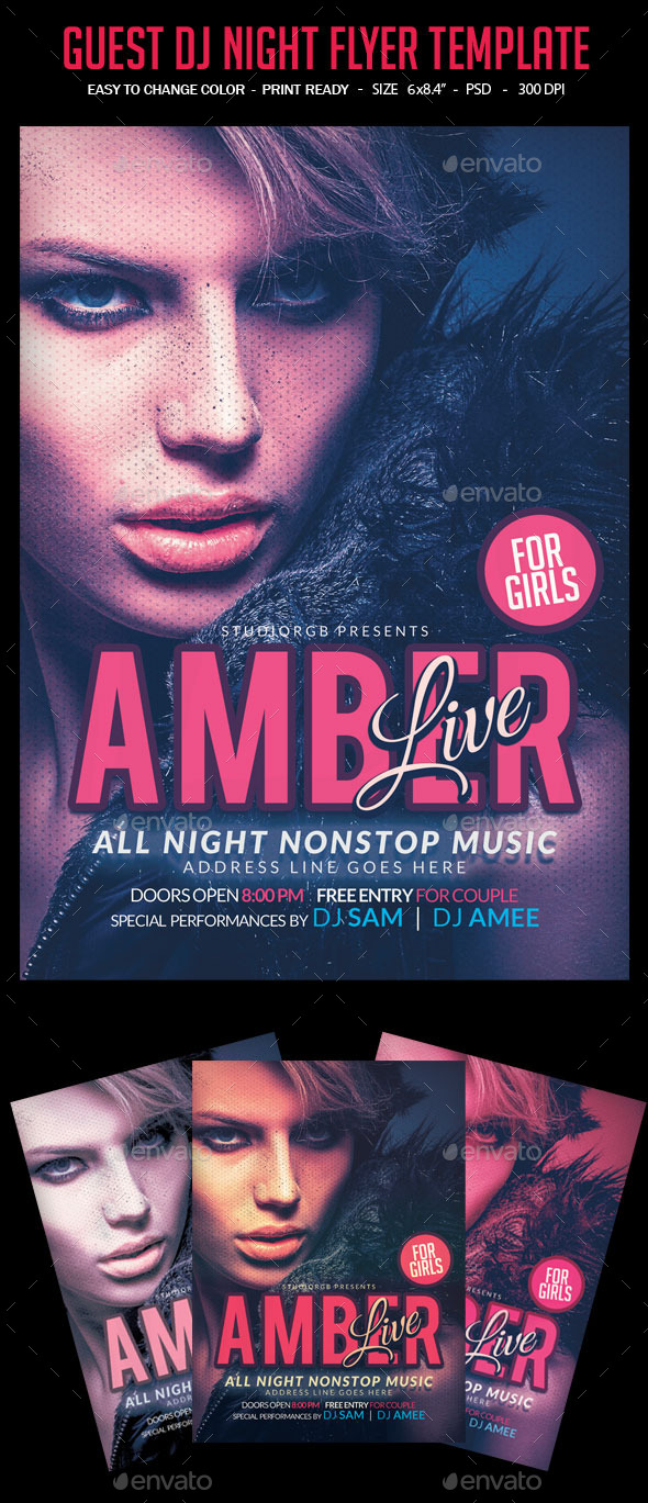 GraphicRiver Guest Dj Live Night Party Flyer 10468770
