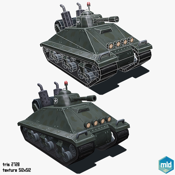 3DOcean Low Poly Cartoon Big Tank 10469226