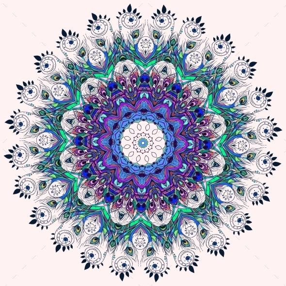 GraphicRiver Feather Mandala 10469889