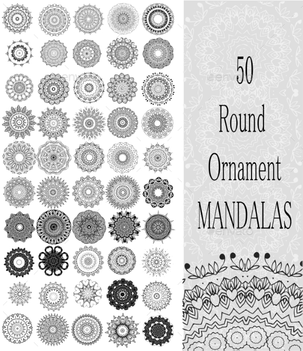 GraphicRiver Set of 50 Ornament Round Mandalas 10469894