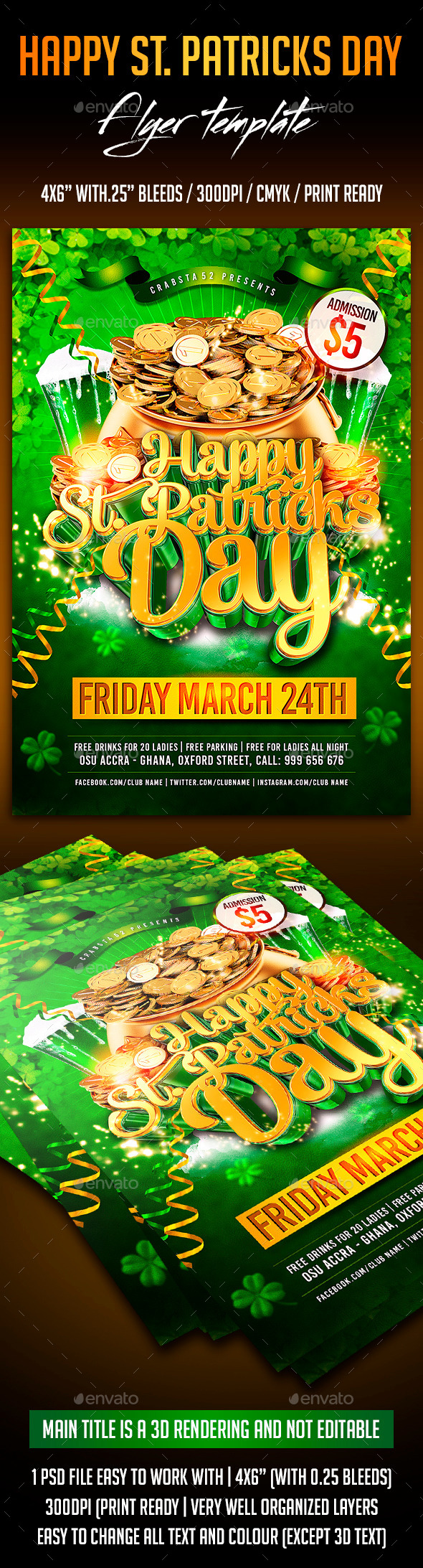 GraphicRiver Happy St Patrick s Day Flyer Template 10470059