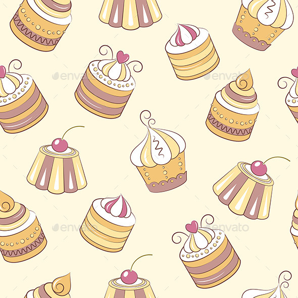 GraphicRiver Cupcakes Seamless Pattern 10470272