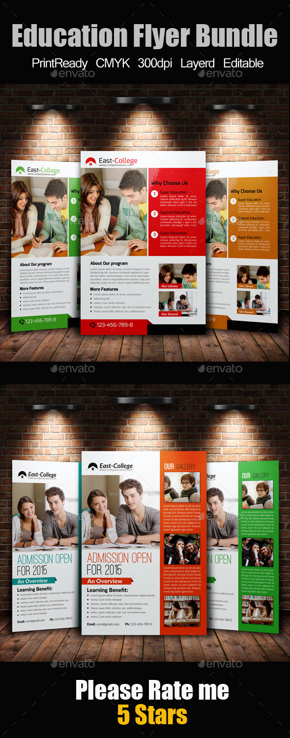 GraphicRiver A4 education Flyer Template Bundle 10470396