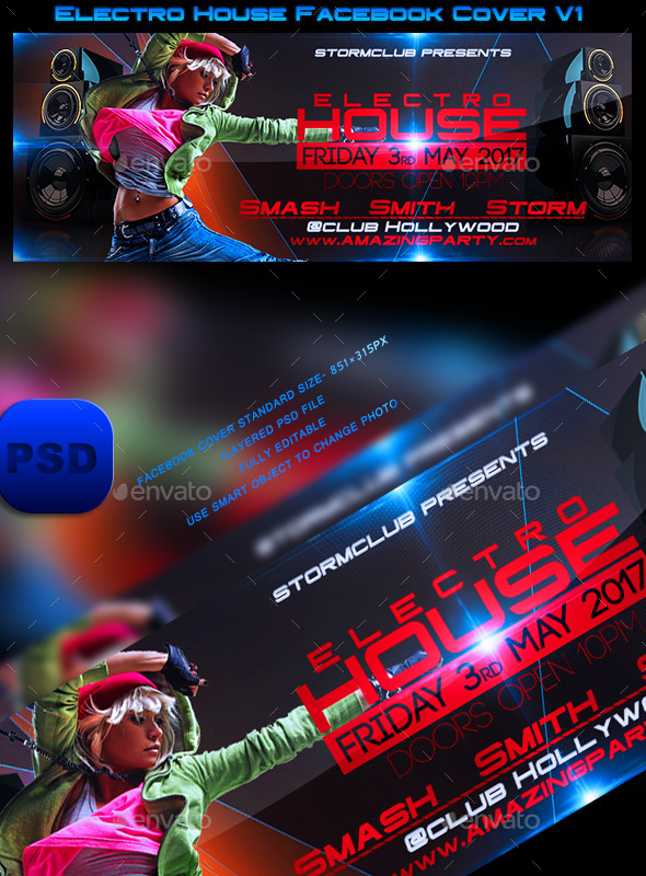 GraphicRiver Electro House Facebook Cover V1 10470623