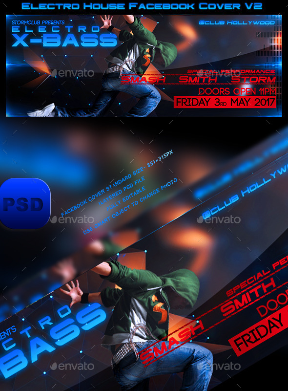 GraphicRiver Electro House Facebook Cover V2 10470678