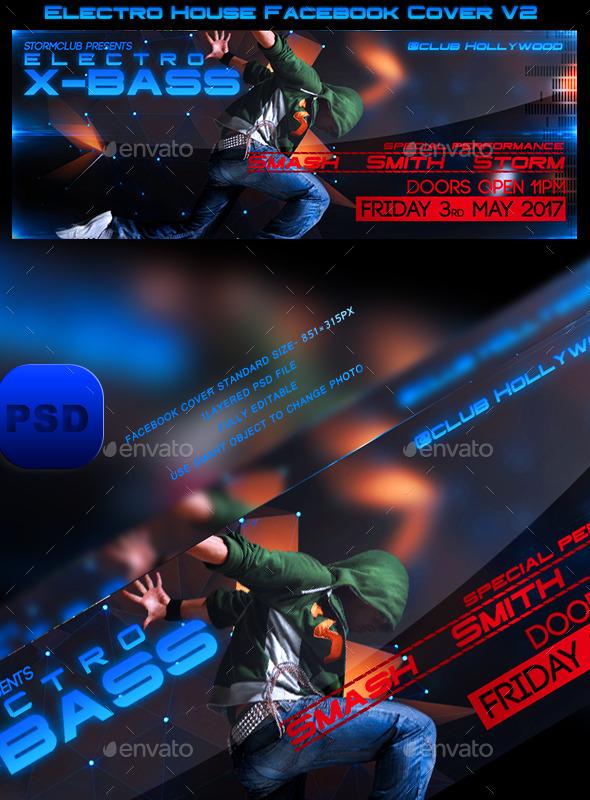 GraphicRiver Electro House Facebook Cover V2 10470678