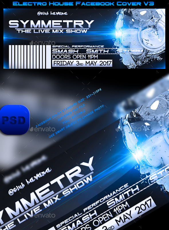 GraphicRiver Electro House Facebook Cover V3 10470680
