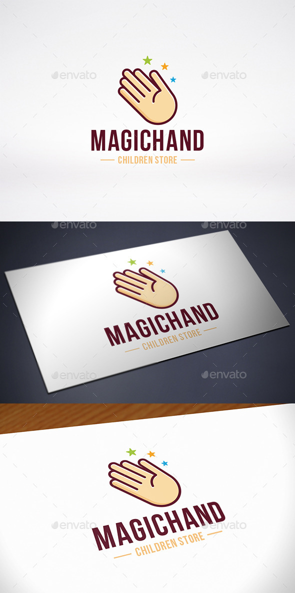 Magic Star Hand Logo Template