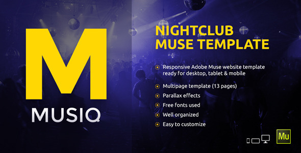 ThemeForest Musiq Nightclub Website Muse Template 10470734