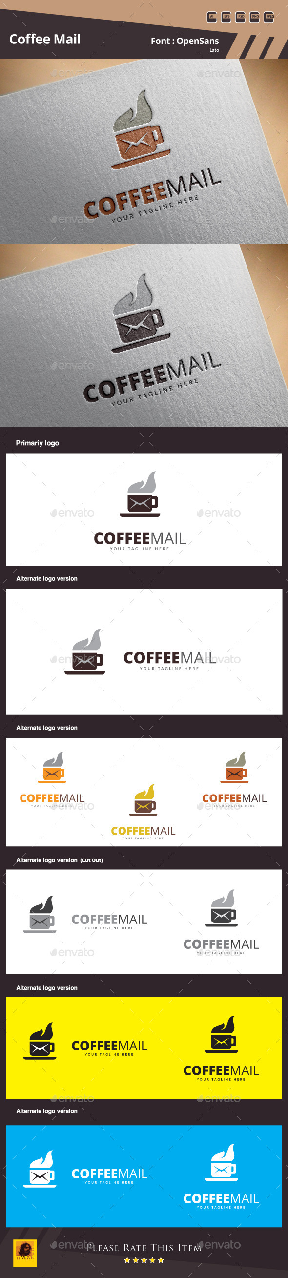 GraphicRiver Coffee Mail Logo Template 10471023