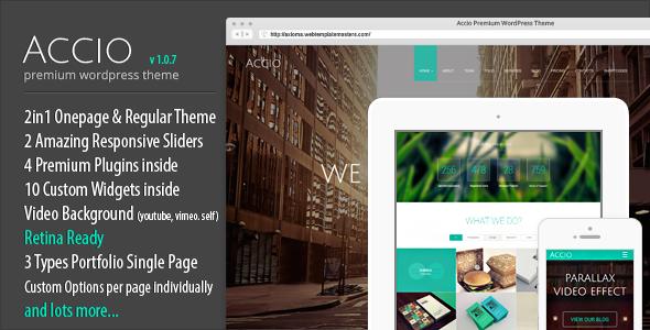 Accio One Page Parallax Responsive WordPress Theme - Portfolio Creative