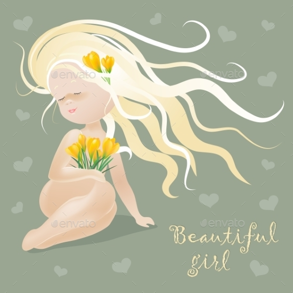 GraphicRiver Girl with Flowers 10471695