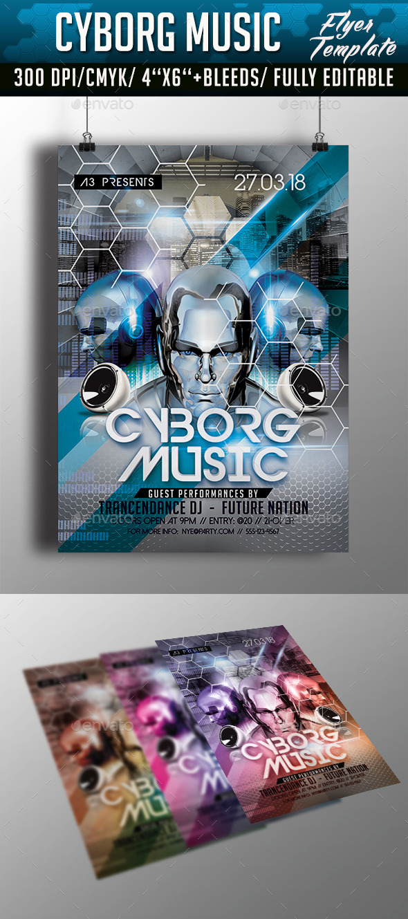 GraphicRiver Cyborg Music Flyer Template 10471997