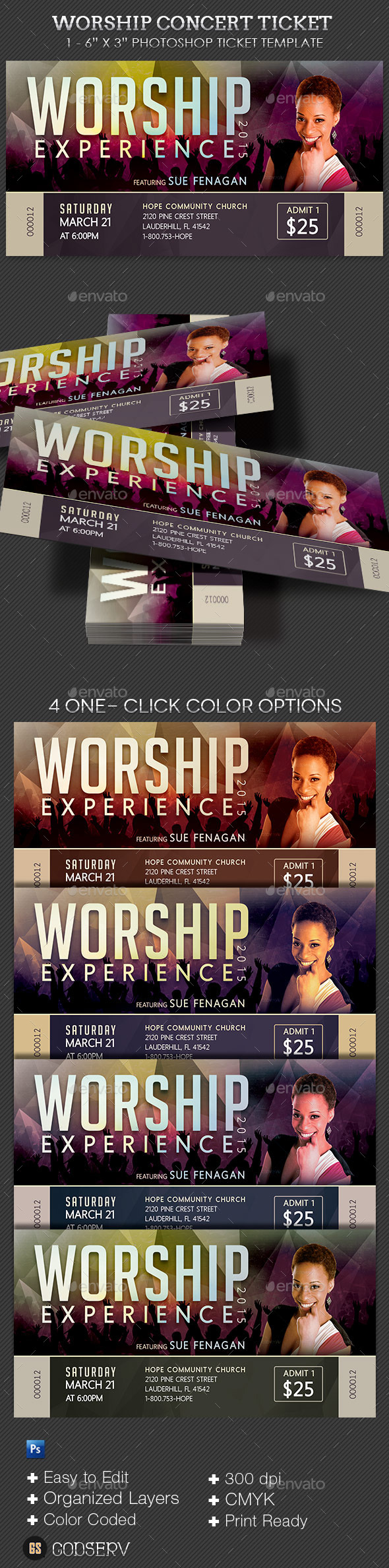 GraphicRiver Worship Concert Ticket Template 10472154