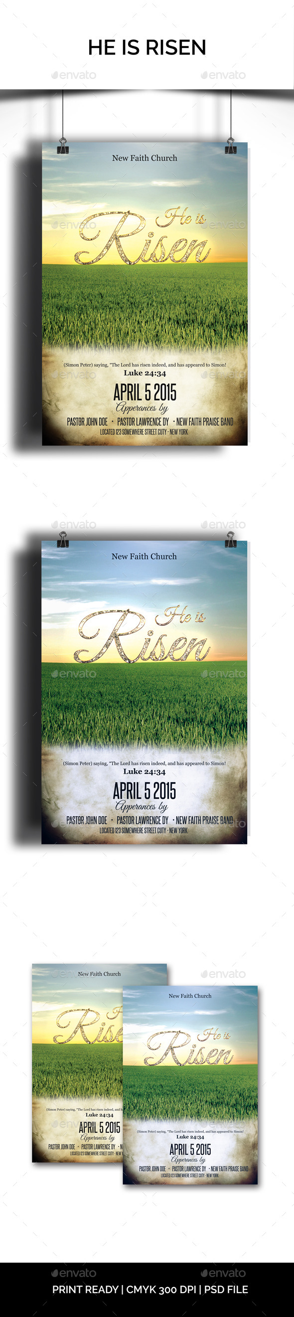GraphicRiver He is Risen Church Flyer 10472557