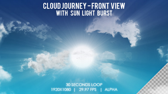 Cloud Journey with Sun Light Burst Front View