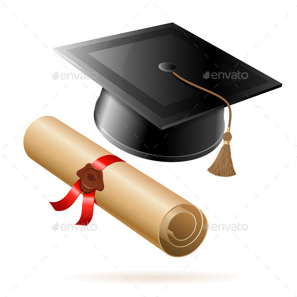 GraphicRiver Graduation Cap and Diploma 10474211