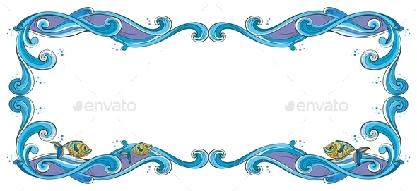 GraphicRiver A Border with Fish 10474216