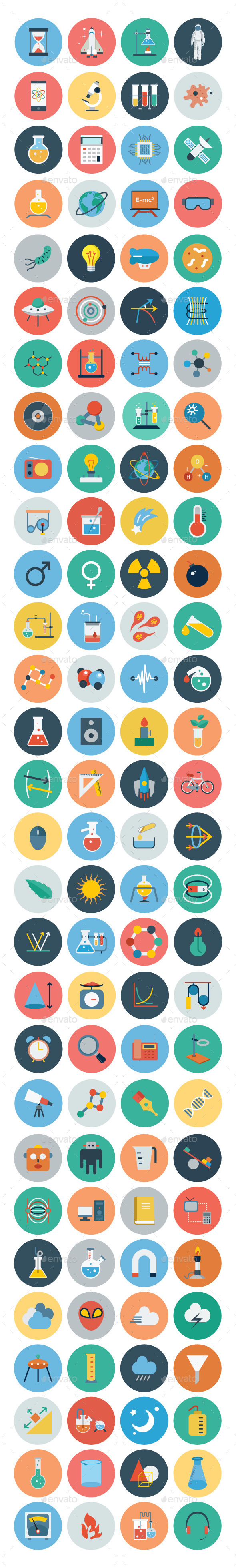 GraphicRiver 100& Science & Technology Flat Icons 10474323