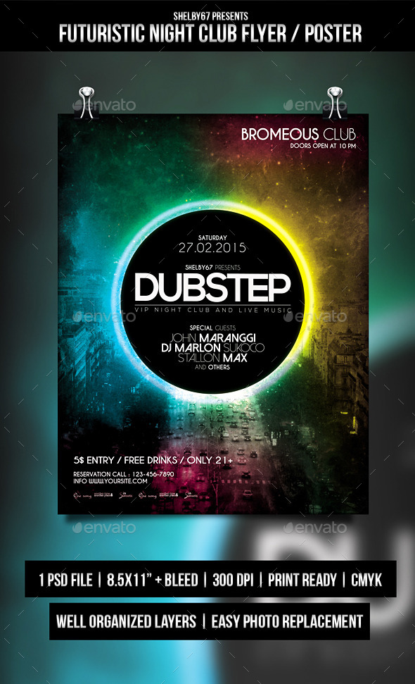GraphicRiver Futuristic Night Club Flyer Poster 10474342