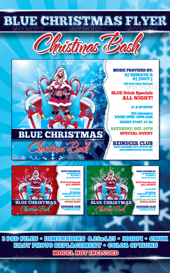 Blue Christmas Flyer Template
