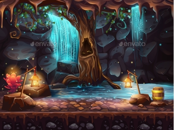 GraphicRiver Cave With Waterfall and Magic Tree 10474632