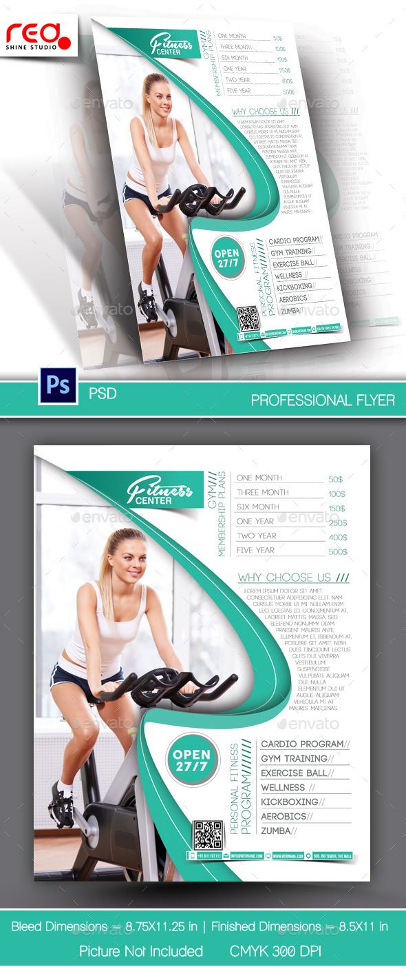 GraphicRiver Fitness Center Flyer & Poster Template 10474884