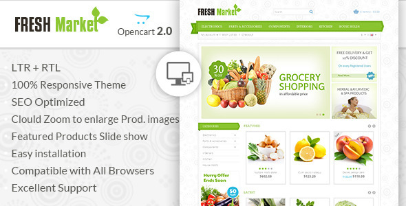 Fresh Market - OpenCart Responsive Theme - OpenCart eCommerce