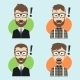 9 Surprised Hipster Guys - GraphicRiver Item for Sale