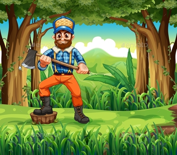 GraphicRiver Woodman in the Forest 10475029