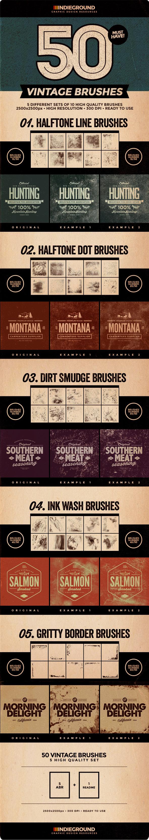 GraphicRiver 50 Vintage Brushes Set Vol 2 10431824