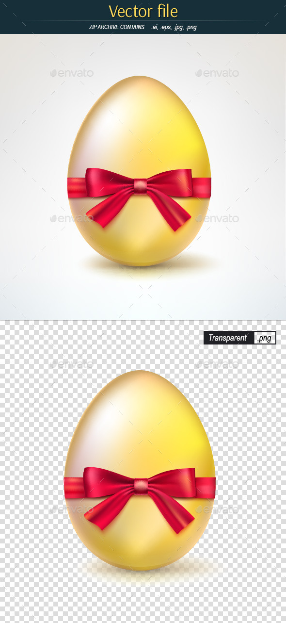 GraphicRiver Golden Egg Tied with Red Ribbon 10475481
