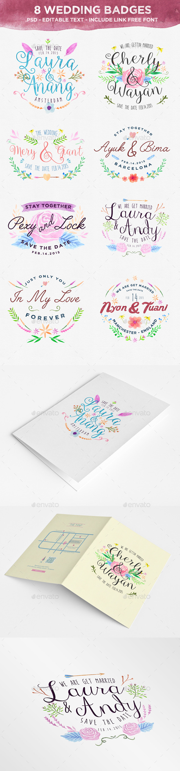 GraphicRiver 8 Wedding Badges 10475566