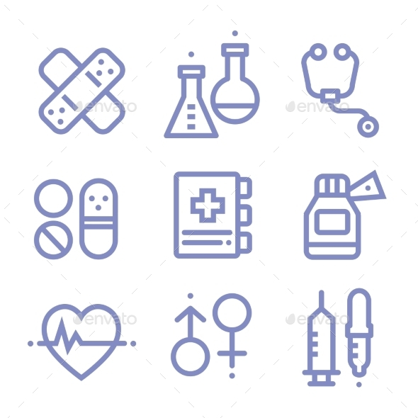 GraphicRiver Contour Simple Medical Icons Set 10475565